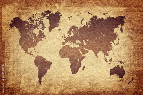 Foto op Aluminium world map on grunge background, vintage look