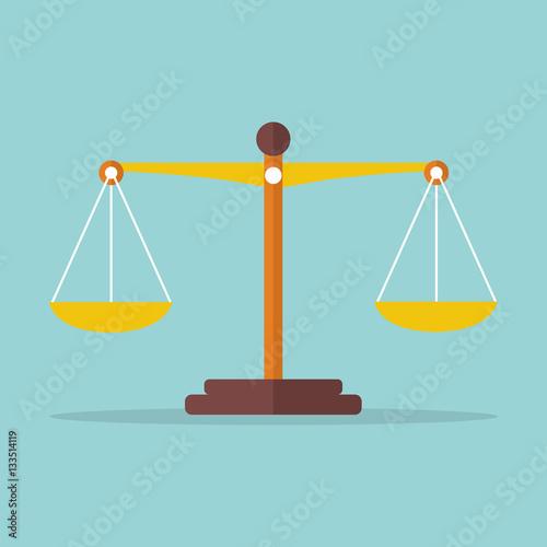 Fotografía  Scales balance icon. Vector illustration
