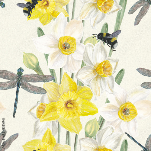 Cotton fabric Watercolor Seamless pattern lush yellow and white daffodils . Dragonfly and bumblebee Hand painted beautiful spring flowers