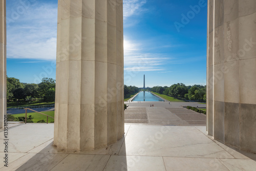 Photographie  Washington Monument and new reflecting pool by Lincoln Memorial, Washington DC