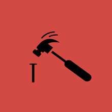 Hammer And Nail Icon. Flat Design