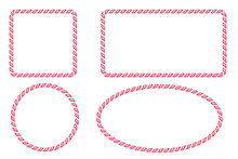 Candy Cane Border Frames Set. ...