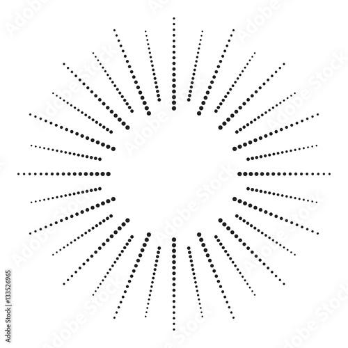 Zdjęcie XXL Kropkowany element promieniowy. Grafika wzór czerni kropki na białym backround. Wektor EPS10.