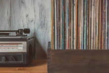 Old Vinyl Records And Turntable
