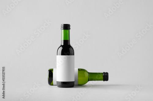 Fotografie, Obraz  Wine Quarter/Mini Bottle Mock-Up - Two Bottles. Blank Label