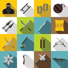 Ninja Tools Icons Set, Flat Style