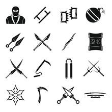 Ninja Tools Icons Set, Simple Style