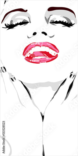 Photo  Face of girl with red lips and nails like mere lin monroe