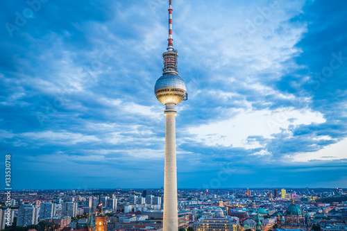 Photo  Berlin TV tower illuminated in twilight, Germany