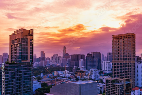 abstract cityscape on sunset and twilight time - can use to display or montage o Poster