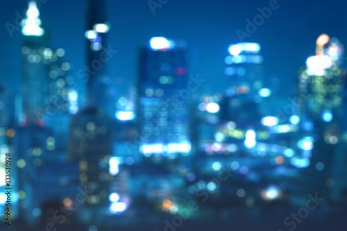 Fotografiet  abstract blur background of night cityscape bokeh - can use to display or montag