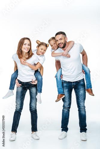 Printed kitchen splashbacks Artist KB Parents piggybacking happy children