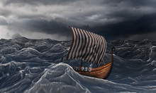 Viking Ship On The Dramatic Wavy Sea In The Storm.