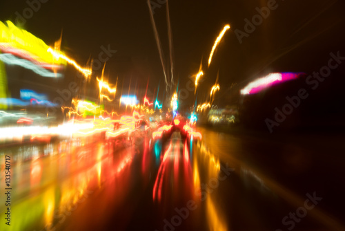 Staande foto Las Vegas Abstract traffic with color lights in the dark