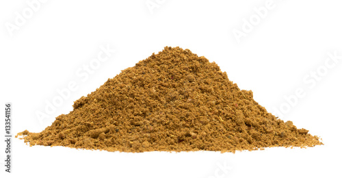 Bio organic ras el hanout spice pile isolated on white background, low angle vie Canvas Print
