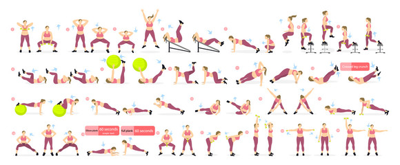 Fototapeta na wymiar Exercises set for fat girl on white background. All fitness workout including yoga, stretching, weights and more.