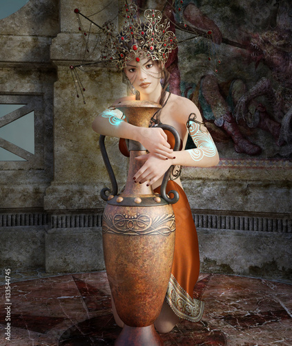 Photo  Portrait of a mythological woman with ancient dress and vase