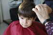 haircut of small boy in barbershop