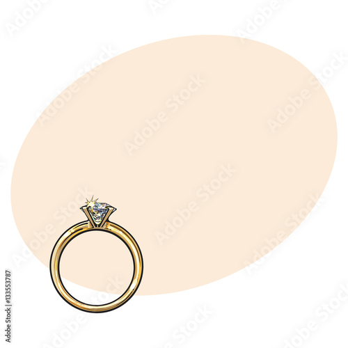 Golden Engagement Ring With A Big Shining Diamond Sketch Style