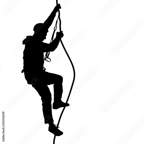 Fotografiet  Black silhouette rock climber on white background