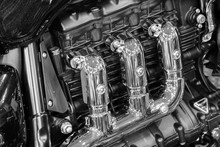 Chrome Motorcycle Engine As Ba...