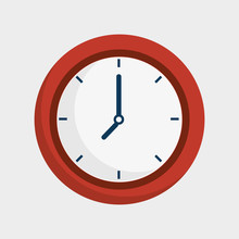 Time Clock Isolated Icon Vecto...
