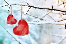 Wooden Red Heart On Snowy Tree Branch In Winter.