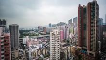Hong Kong District. Smog. Timelapse, City Buildings