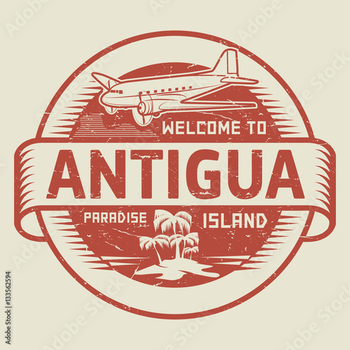 Stamp With The Text Welcome To Antigua Paradise Island