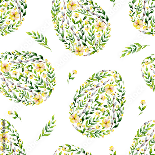 Cotton fabric Watercolor yellow seamles flower and herbs Easter egg pattern. May be used for Easter textile decoration print, invitation card, spring decor, wrapping paper and window decoration.