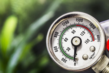 Manometer On Green Background
