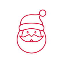 Santa Claus Face Beard Mustage Happy Xmas Christmas New Year Red On White Line Icon