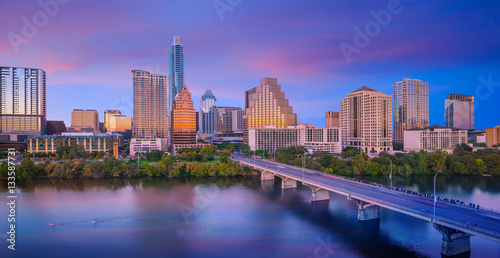 Montage in der Fensternische Dunkelblau Downtown Skyline of Austin, Texas