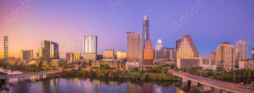 Autocollant pour porte Texas Downtown Skyline of Austin, Texas