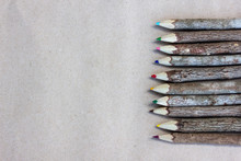 Set Of Wooden Color Pencil From Tree Branch