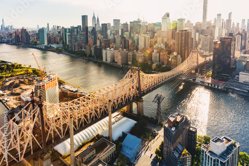 Aluminium Prints Brooklyn Bridge Queensboro Bridge over the East River in New York City