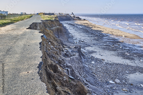 Obraz na plátne  Coastal erosion of the cliffs at Skipsea, Yorkshire