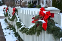 Snow Covered Evergreen Garland...