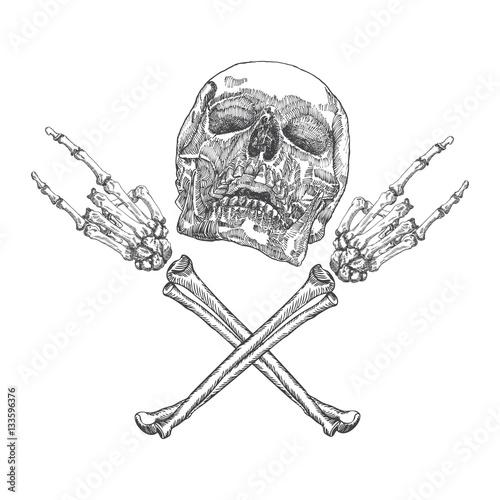 фотография Skull and crossbones hands with gesture of heavy metal, rock and satan