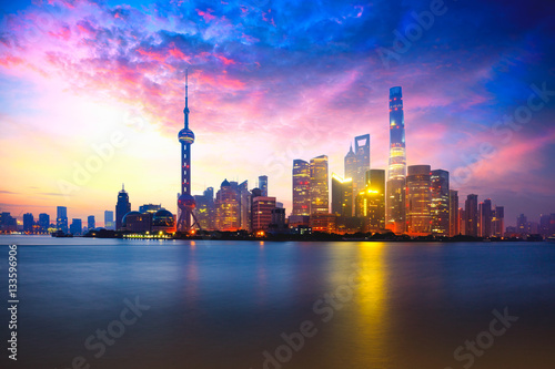 Shanghai, China city skyline on the Huangpu River. Wallpaper Mural