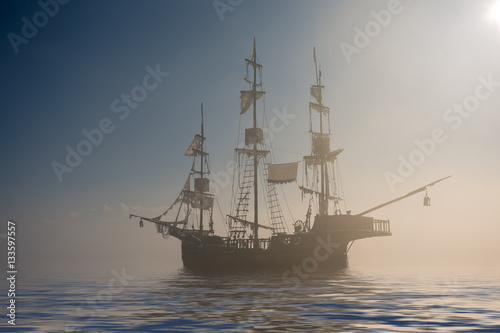 Foto op Canvas Schipbreuk Ghost pirate ship in the fog