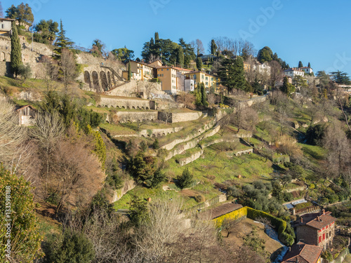 Staande foto Noord Europa Bergamo - Old city (Citta Alta). One of the beautiful city in Italy. Lombardia. Landscape of dry stone walls and terraces situated in the hills surrounding the old city.