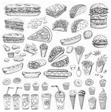Big Vector Set, Fast Food. Sketch Style. Hamburger Taco Burrito Chicken Potato Fries Sandwich, Coffee, Lemonade, Ice Cream, Hot Dog, Ketchup, Mustard, Soda, Beer. Hand Drawn Design Elements