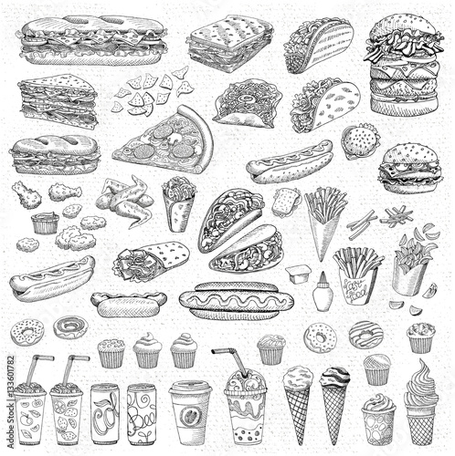 Cadres-photo bureau Snack Big vector set, fast food. Sketch style. Hamburger taco burrito chicken potato fries sandwich, coffee, lemonade, ice cream, hot dog, ketchup, mustard, soda, beer. Hand drawn design elements