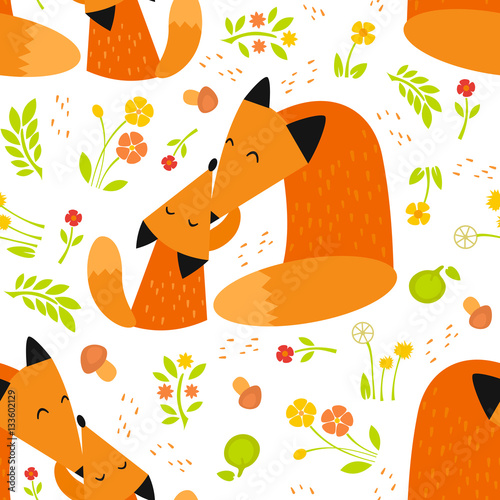 Cotton fabric Seamless pattern with foxes. Baby animal vector illustration. Mother and child.