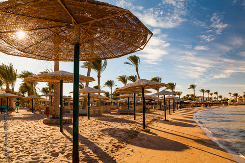 Foto op Aluminium Egypte Picturesque views of the tropical beach with palm trees, parasols and sunbeds