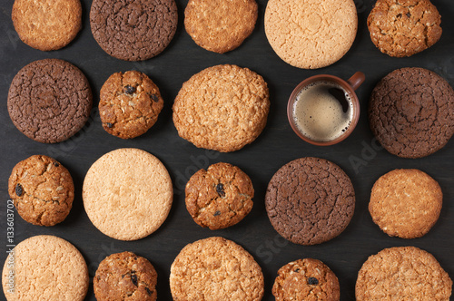 Foto op Canvas Koekjes Various cookies and coffee