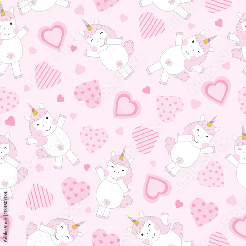 Valentine S Day Seamless Background With Cute Pink Unicorn