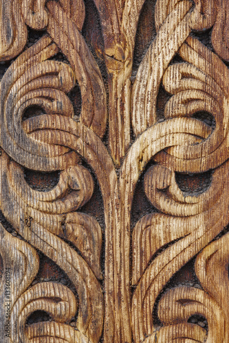 Norwegian ancient wooden carving nature forms heddal church n