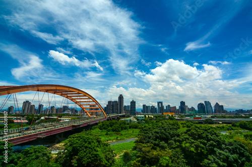Hongyang bridge and highway at the entrance to Taichung City, Taiwan